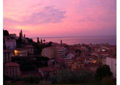 French Riviera Panoramic View of of Mediterranean Sea in Menton